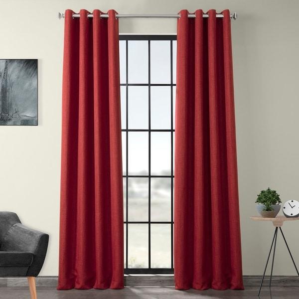 Exclusive Fabrics Faux Linen Grommet Blackout Curtain. Opens flyout.