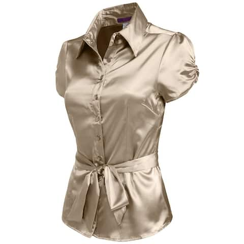 NE PEOPLE Womens Satin Blouse Top with Waist Tie [NEWT194]