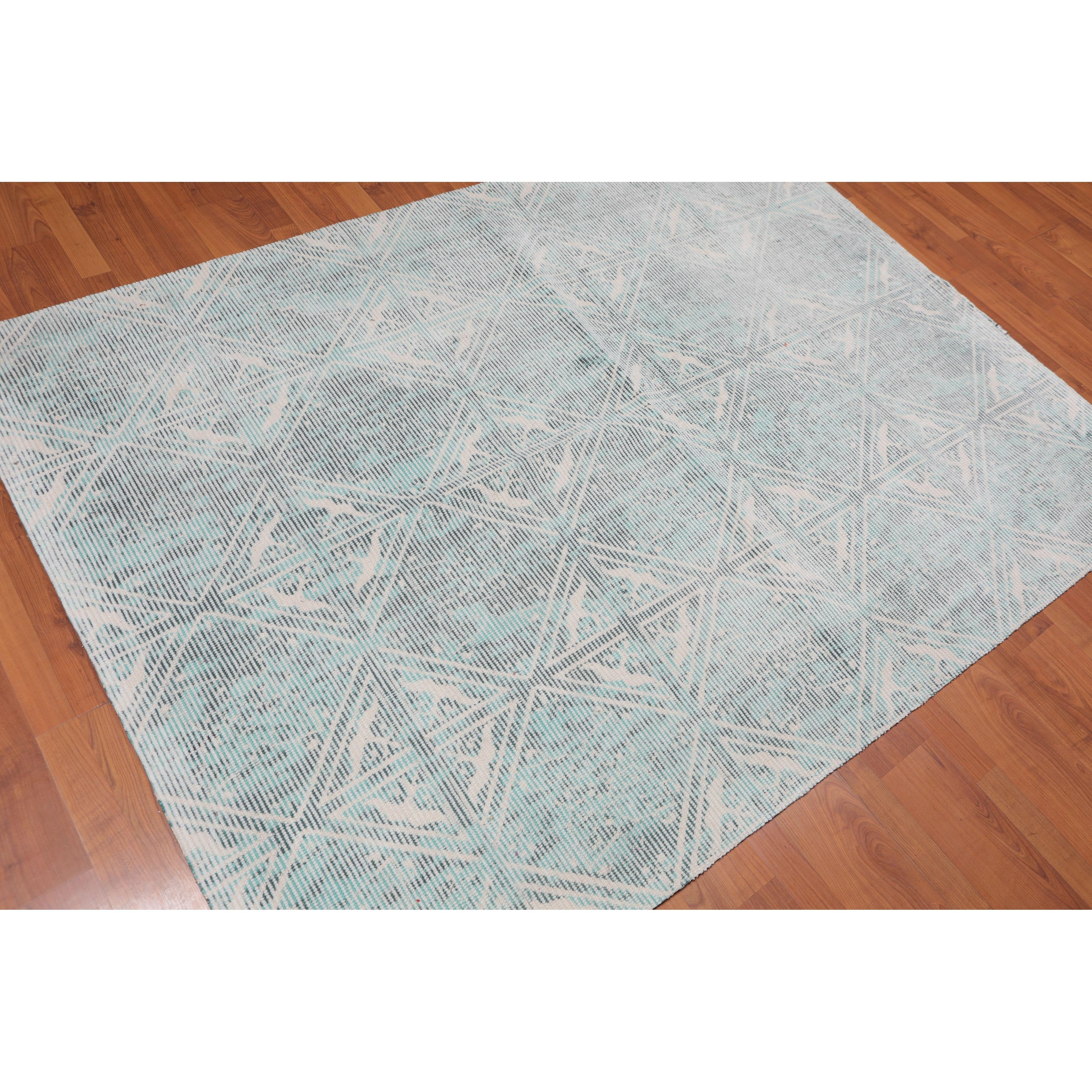 Hand Made Ivory Aqua Area Rug Wool Modern Contemporary Oriental Area Rug 5x7 5 X 6 9 Overstock 31523644