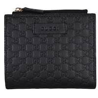 "Gucci 510318 Black Leather Micro GG Guccissima Card Case Bifold Small Wallet - 	4.25"" x 3.75"""