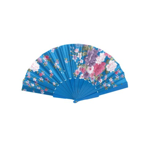 Wedding Party Rib Chinese Style Flower Pattern Folding Hand Fan Teal