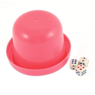 KTV Party Pub Casual Toy Plastic Round Shaker Cup Pink w 3 Dices