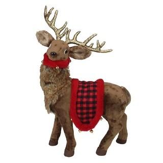 """20.5"""" Standing Reindeer with Buffalo Plaid Saddle Christmas Figure"""