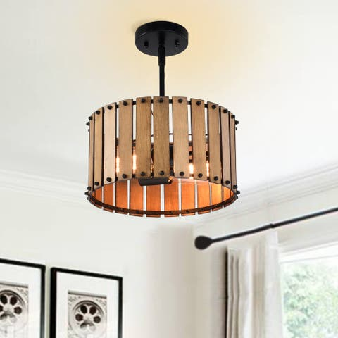 2-light Black Finish Wood Drum Flush Mount Ceiling Pendant Light - 12 in.