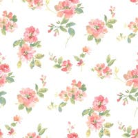 Brewster DLR54592 Captiva Peach Watercolor Floral Wallpaper - Peach Floral