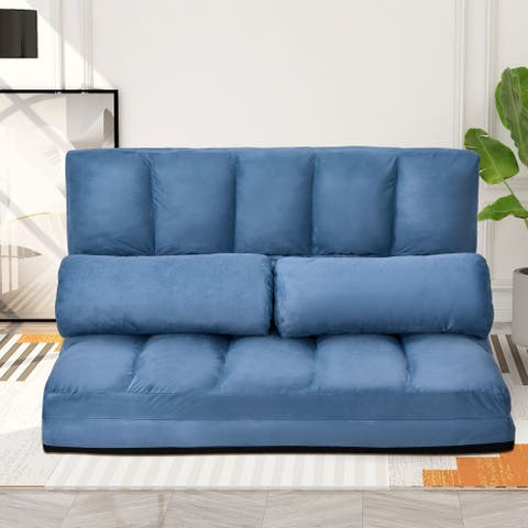 TiramisuBest Livingroom Double Chaise Sofa Floor Couch&Two Pillows
