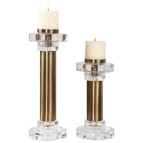 "Set of 2 Leslie Brushed Brass Cylindrical Pillar Candle Holders 19"" - N/A"
