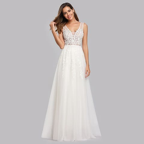 Ever-Pretty Womens Lace Appliques Tulle Long Evening Party Prom Homecoming Dress 07544