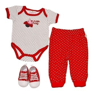 Duck Duck Goose Baby Girls Red Lady Bug Bodysuit Sneakers 3 Pc Pant Outfit