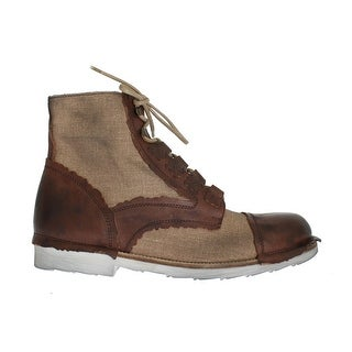 Dolce & Gabbana Brown Leather Linen Above Ankle Boots