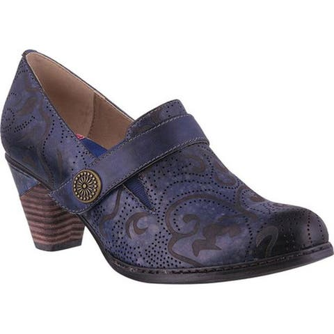 L'Artiste by Spring Step Women's Huekiss Heeled Loafer Navy Leather