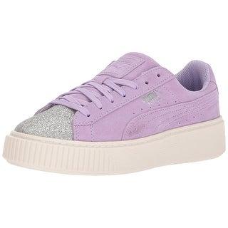 PUMA Girls suede platform glam Low Top Lace Up Walking Shoes