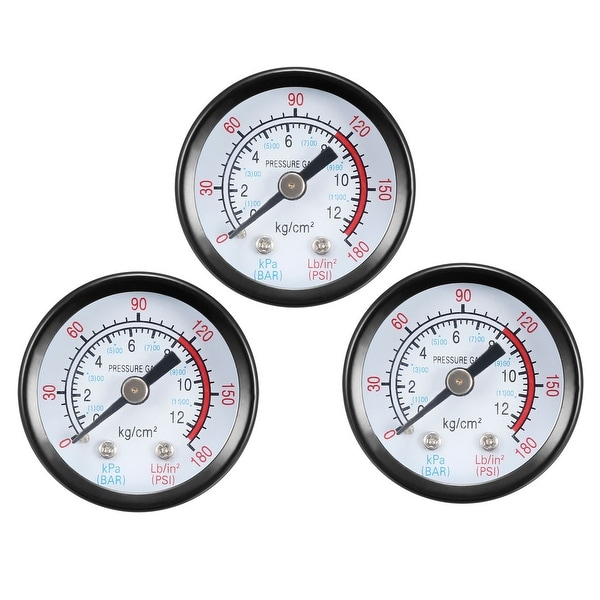 "Pressure Gauge , 0-180 PSI/0-20 BAR Dual Scale 1.4"" Dial Display , 1/4"" NPT 3pcs"