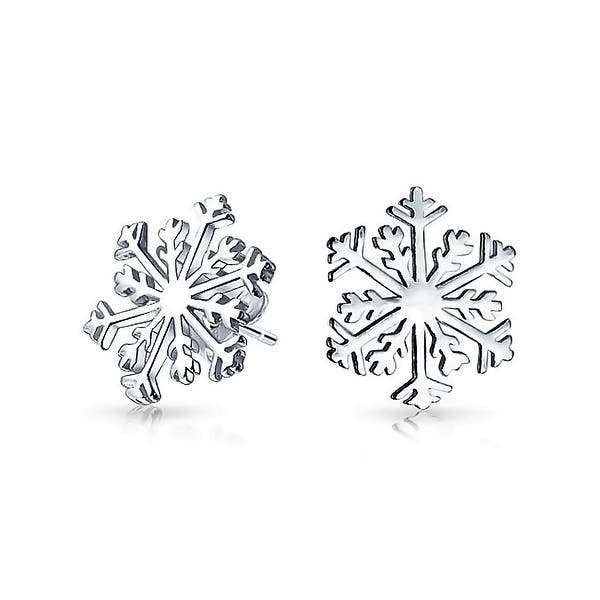 Christmas Winter Holiday Snowflake Stud Earrings For Women 925 Sterling Silver