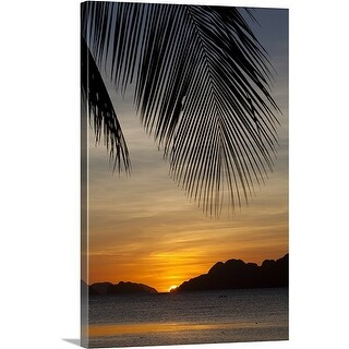 Premium Thick-Wrap Canvas entitled sunset view of tropical islands from the beaches of corong corong