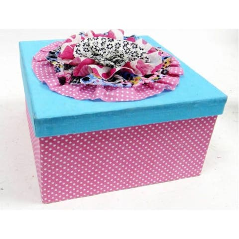 """8.25"""" Pink and Blue Contemporary Square Gift Box"""