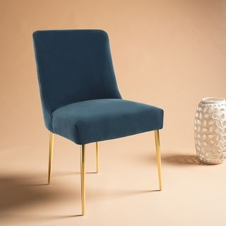 Safavieh Couture Nolita Velvet Accent Chair - Aegean Blue / Brass