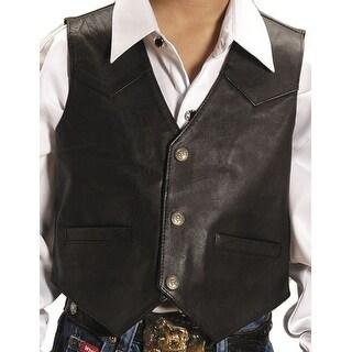 Roper Western Vest Boys Kids Leather Brown 02-094-0520-0501 BR