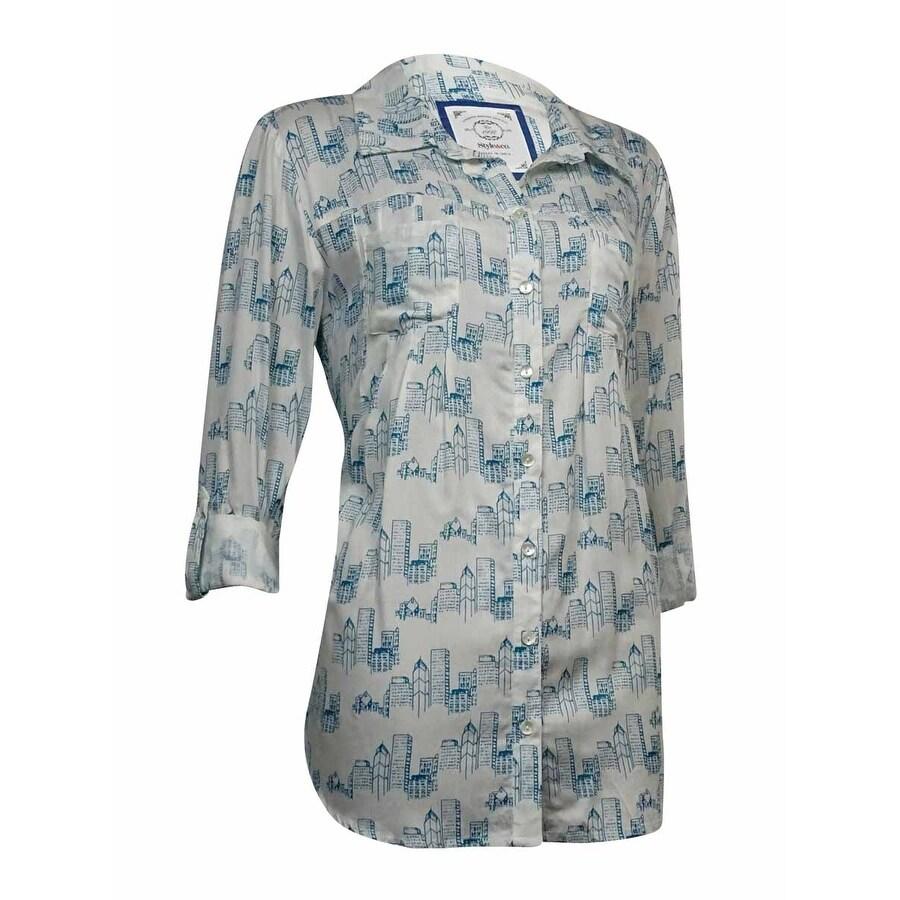 Style & Co Womens Building Print Button Down Pleat Blouse