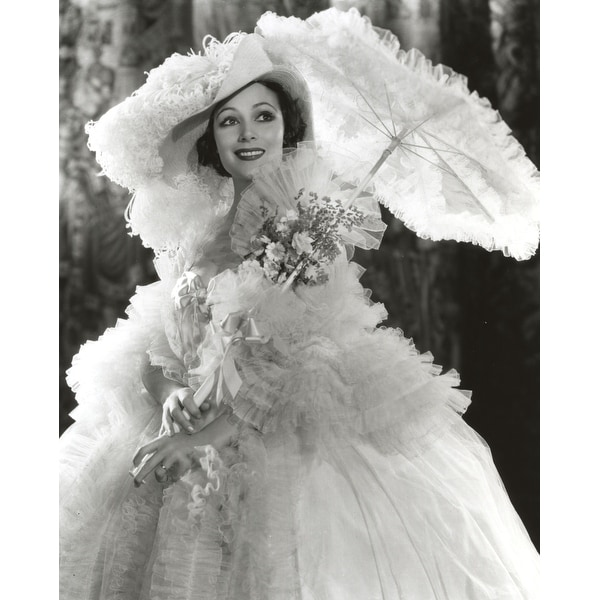 01def0b2e Shop Dolores Del Rio Posed wearing White Gown with Umbrella Photo Print -  Free Shipping On Orders Over  45 - Overstock - 25371121