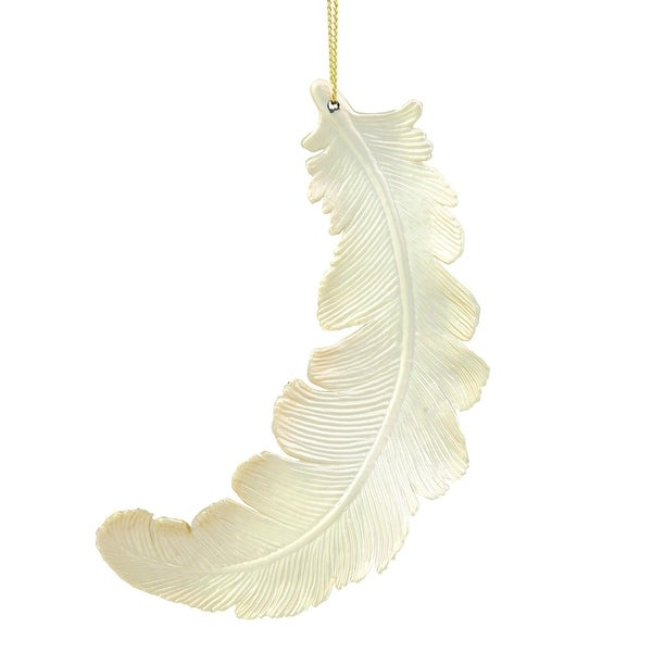 """6ct Matte Champagne Feather Shatterproof Christmas Ornaments 6"""""""