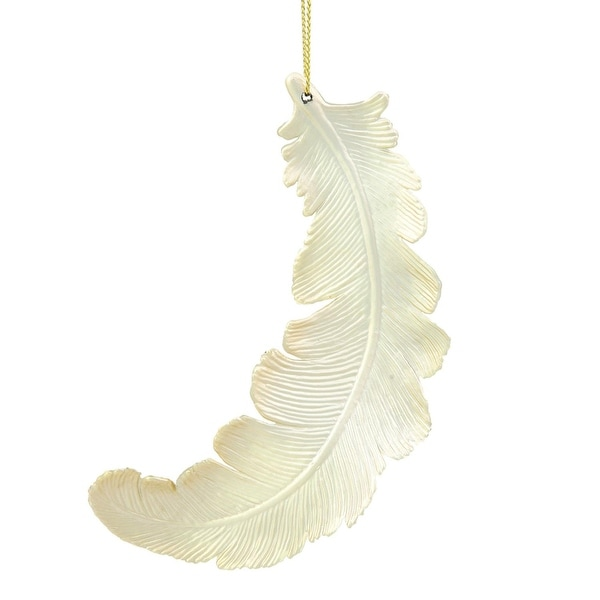 """6ct Matte Champagne Feather Shatterproof Christmas Ornaments 6"""" - GOLD"""