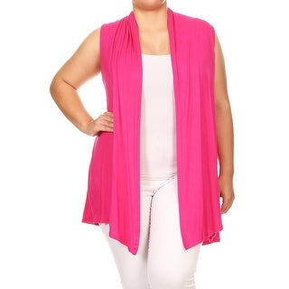 Women's Plus Size Loose Solid Sweater Cardigan Vest