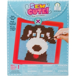 "Sew Cute! Dog Needlepoint Kit-6""X6"" Stitched In Yarn - 6""x6"" stitched in yarn"