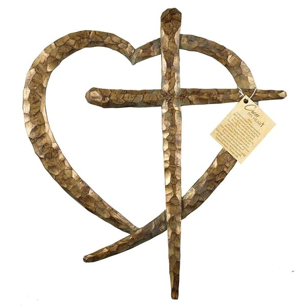 """13.5"""" Brown Chiseled Texture Religious Wall Cross in a Heart - N/A"""