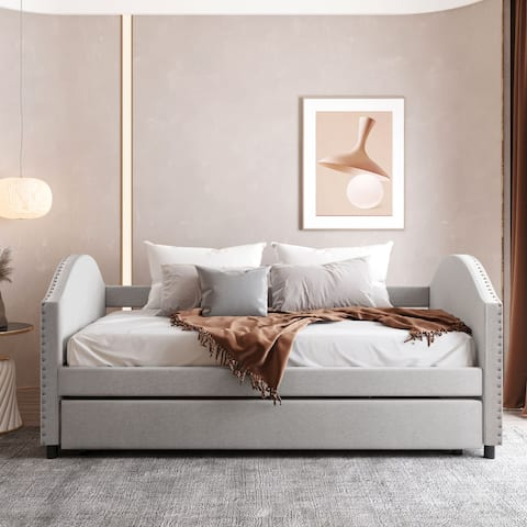 Twin Upholstered Sleepover Daybed with Twin Trundle&Wood Slat, Beige