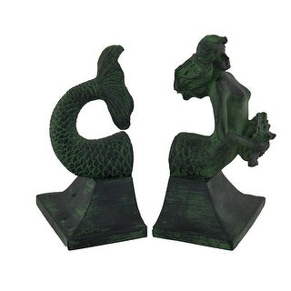 Mermaid Top and Tail Verdigris Finish Bookend Set