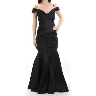 Womens Black Spaghetti Strap Full Length Mermaid Prom Dress Size: 4