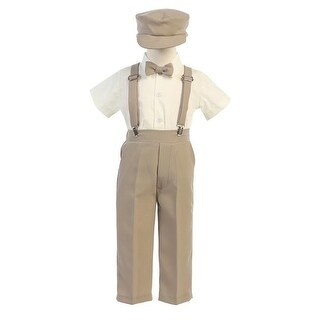 Little Boys Khaki Suspender Pants Hat Outfit Set 2T-6