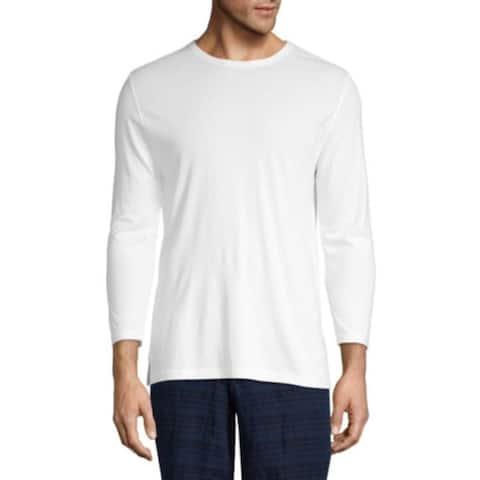 Vince Men's Reverse Hem Three-Quarter Sleeve Tee, White, X-Large