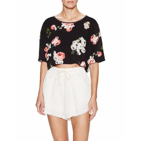 MINKPINK Womens Moon Flower Black Floral Short Sleeve Crop Top Blouse