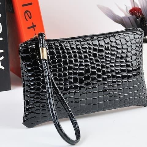 New Korean Crocodile Pattern Purse Fashion Mini Clutch