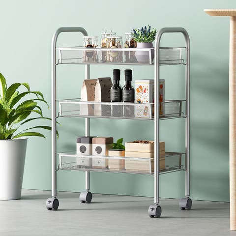3-Tier Mesh Wire Basket Rolling Cart Kitchen Storage Cart With Wheels Shelving