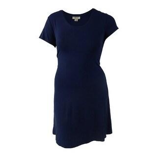 Style & Co Women's Short-Sleeve A-Line Dress (L, Ink) - Ink - l