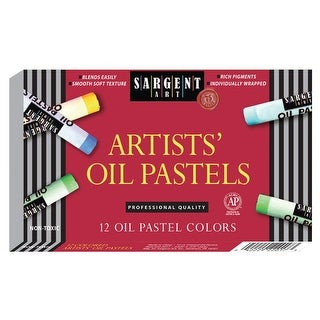 Sargent Art Non-Toxic Regular Oil Pastel, 3/8 X 2-3/8 in, Assorted Color, Pack of 12