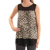 VINCE CAMUTO Womens Black Animal Print Sleeveless Jewel Neck Top  Size: XS