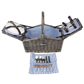 Zelancio Deluxe Wicker Picnic Basket, Double Lid Service for Two Fully Loaded