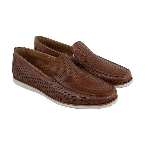 Kenneth Cole New York Cyrus Mens Brown Leather Casual Dress Loafers Shoes