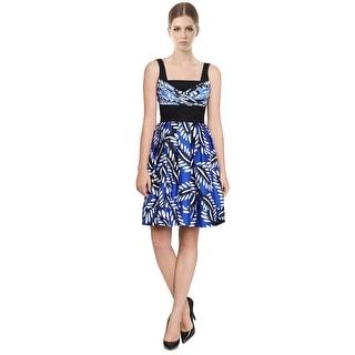 Diane Von Furstenberg DVF Sita Silk Wool Bold Floral Hues Pleated Dress - Multi-color - 4