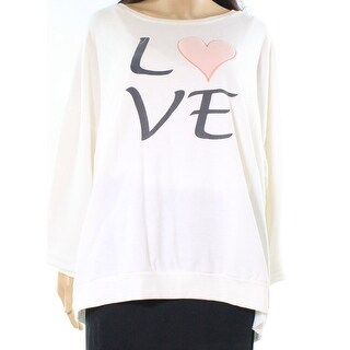 Cupio NEW White Ivory Womens Size 2X Plus Love Graphic Boat-Neck Sweater