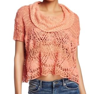 Free People NEW Orange Women's Size Medium M Cowl-Neck Open Knit Top