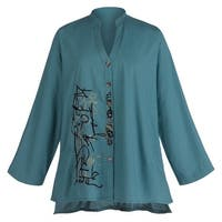 Women's Embroidered Scribbles Cotton Button Down Top