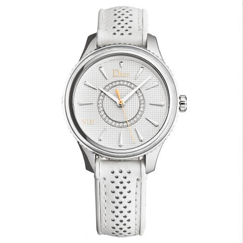 Christian Dior Women's CD152110A005 'Montaigne' White Diamond Dial White Strap Swiss Quartz Watch