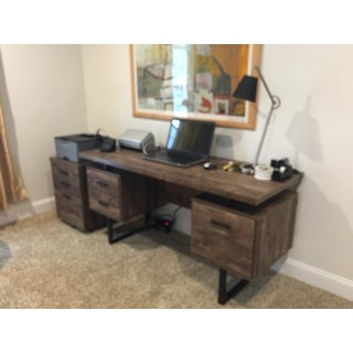 """Computer Desk - 60""""L Wood Grain / Black Metal"""
