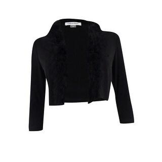 Calvin Klein Women's Petite Open-Front Feather-Trim Shrug - Black