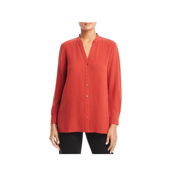 Eileen Fisher Womens Petites Tunic Top Silk Adjustable Sleeves